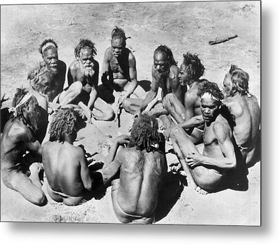 Aborigine Elder Council Metal Print by Underwood Archives