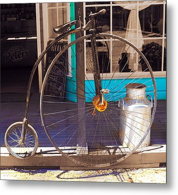 About Time - The Bicycle Metal Print by Sandro Rossi