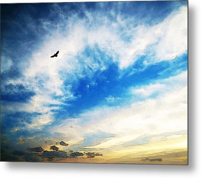 Above The Clouds - American Bald Eagle Art Painting Metal Print by Sharon Cummings