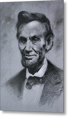Metal Print featuring the drawing Abraham Lincoln by Viola El