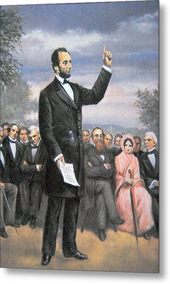 Abraham Lincoln Delivering The Gettysburg Address Metal Print