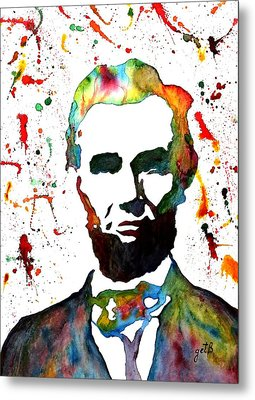 Metal Print featuring the painting Abraham Lincoln Original Watercolor Painting by Georgeta Blanaru