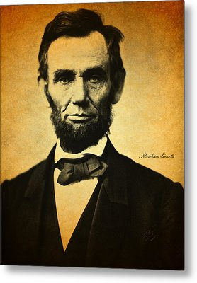 Abraham Lincoln Portrait And Signature Metal Print