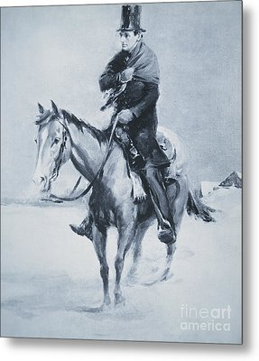 Abraham Lincoln Riding His Judicial Circuit Metal Print by Louis Bonhajo