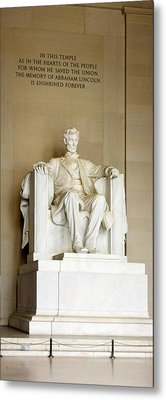 Abraham Lincolns Statue In A Memorial Metal Print by Panoramic Images