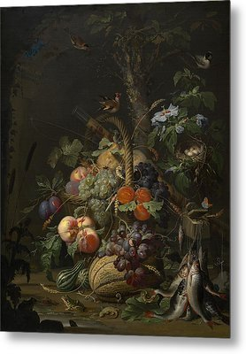 Abraham Mignon Still Life With Fruit Fish And A Nest C 1675 Metal Print
