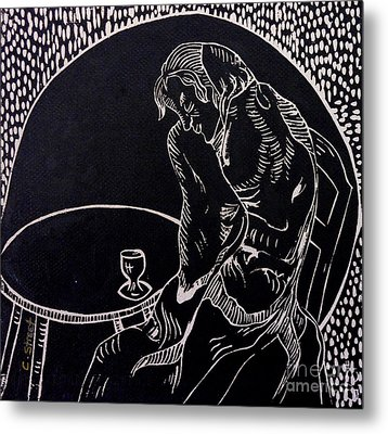 Absinthe Drinker After Picasso Metal Print