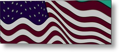 Abstract 50 Star American Flag Flying Enhanced Cropped X 2 Metal Print by L Brown