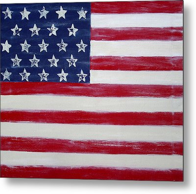 Abstract American Flag Painting Metal Print by Holly Anderson