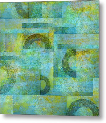 Abstract Art Blue Collage Metal Print by Ann Powell