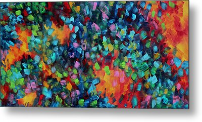 Abstract Art Bold Colorful Modern Art Original Painting Color Blast By Madart Metal Print by Megan Duncanson