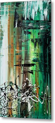 Abstract Art Colorful Original Painting Green Valley By Madart Metal Print by Megan Duncanson