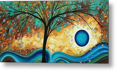Abstract Art Contemporary Painting Summer Blooms By Madart Metal Print by Megan Duncanson