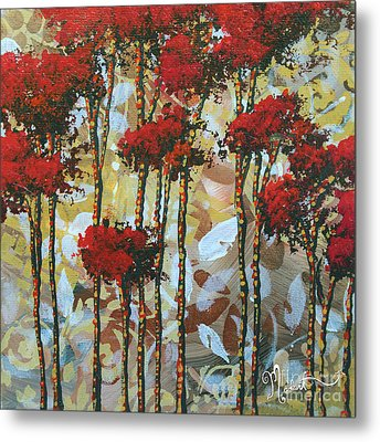 Abstract Art Decorative Landscape Original Painting Whispering Trees I By Madart Studios Metal Print by Megan Duncanson
