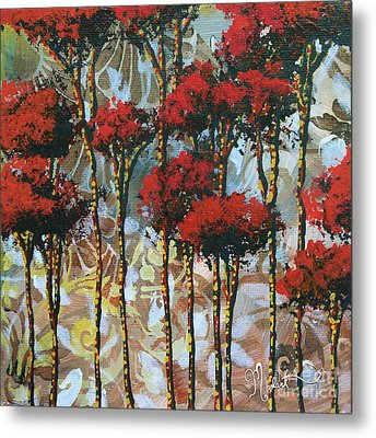 Abstract Art Decorative Landscape Original Painting Whispering Trees II By Madart Studios Metal Print by Megan Duncanson