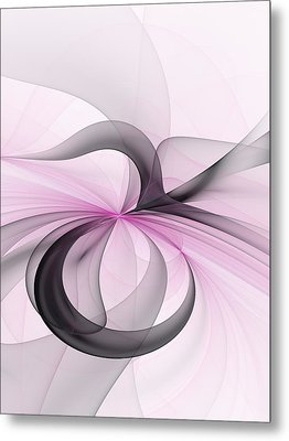 Abstract Art Fractal With Pink Metal Print