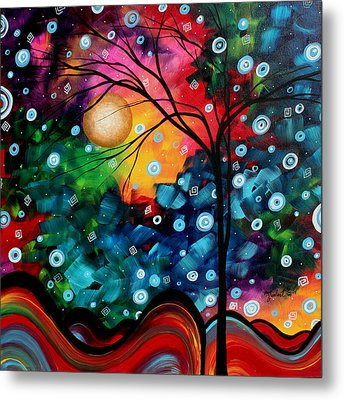 Abstract Art Landscape Tree Painting Brilliance In The Sky Madart Metal Print by Megan Duncanson