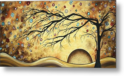 Abstract Art Metallic Gold Original Landscape Painting Colorful Diamond Jubilee By Madart Metal Print by Megan Duncanson