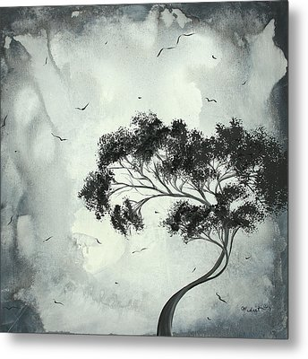 Abstract Art Original Black And White Surreal Landscape Painting Lost Moon By Madart Metal Print by Megan Duncanson
