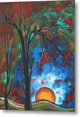 Abstract Art Original Colorful Bird Painting Spring Blossoms By Madart Metal Print by Megan Duncanson