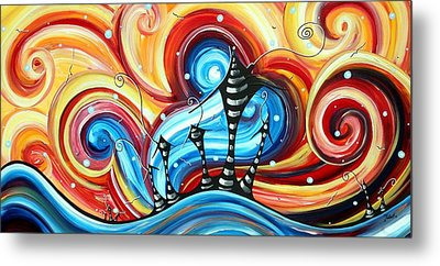 Abstract Art Original Colorful Funky House Painting Home On The Hill By Madart Metal Print