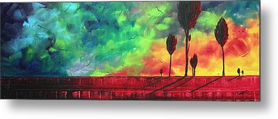 Abstract Art Original Colorful Landscape Painting Burning Skies By Madart  Metal Print by Megan Duncanson