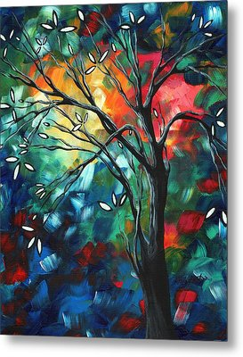 Abstract Art Original Colorful Painting Spring Blossoms By Madart Metal Print by Megan Duncanson
