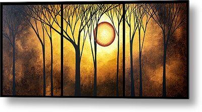 Abstract Art Original Landscape Golden Halo By Madart Metal Print by Megan Duncanson