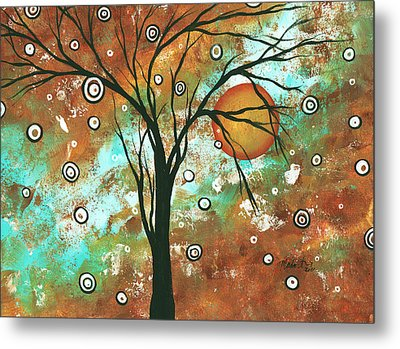 Abstract Art Original Landscape Painting Bold Circle Of Life Design Autumns Eve By Madart Metal Print by Megan Duncanson