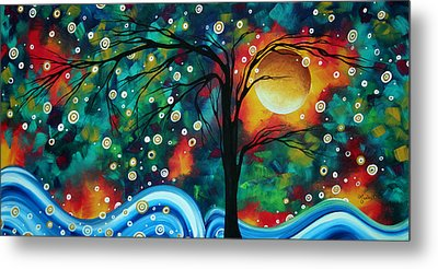 Abstract Art Original Landscape Painting Bold Circle Of Life Design Dance The Night Away By Madart Metal Print by Megan Duncanson