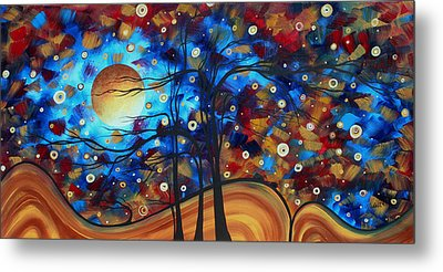 Abstract Art Original Landscape Painting Bold Circle Of Life Design Show Me The Way By Madart Metal Print by Megan Duncanson