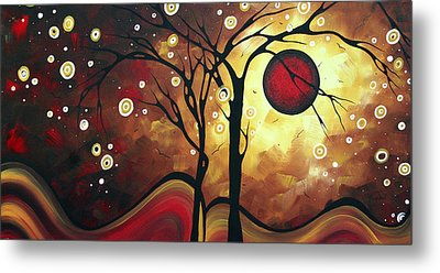 Abstract Art Original Landscape Painting Catch The Rising Sun By Madart Metal Print by Megan Duncanson