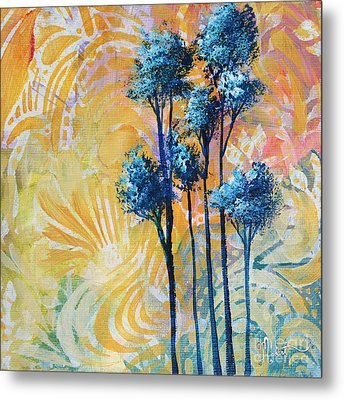 Abstract Art Original Landscape Painting Contemporary Design Blue Trees II By Madart Metal Print by Megan Duncanson