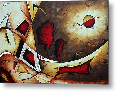 Abstract Art Original Landscape Painting Cosmic Destiny By Madart Metal Print