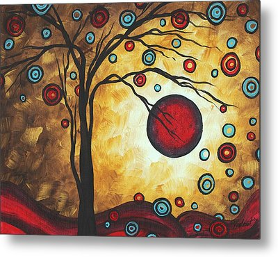 Abstract Art Original Metallic Gold Landscape Painting Freedom Of Joy By Madart Metal Print by Megan Duncanson