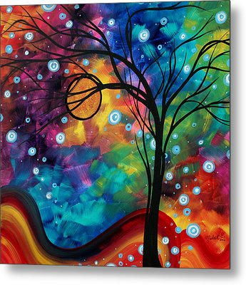 Abstract Art Original Painting Winter Cold By Madart Metal Print by Megan Duncanson