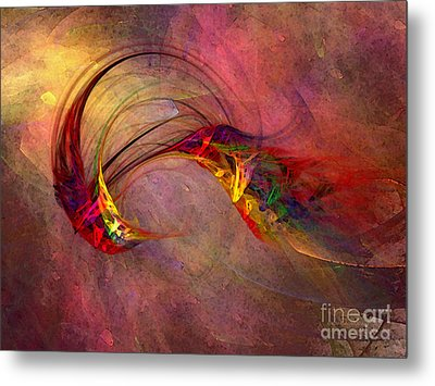 Abstract Art Print Hummingbird Metal Print by Karin Kuhlmann