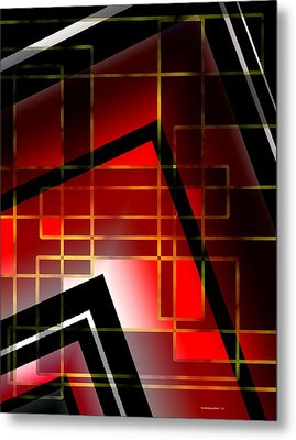 Abstract Art With Lines On Red  Metal Print by Mario Perez