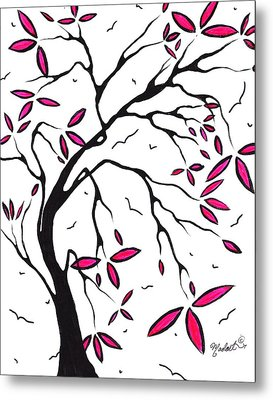 Abstract Artwork Modern Original Landscape Pink Blossom Tree Art Pink Foliage By Madart Metal Print by Megan Duncanson