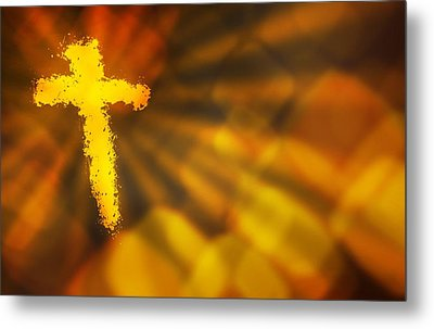 Abstract Background With A Fiery Cross Metal Print by Design Pics RF