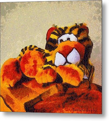Abstract Bengal Tiger Metal Print by Barbara Snyder