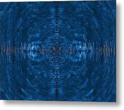 Abstract Blue Electric Circuit Future Technology_oil Painting On Canvas Metal Print by Nenad Cerovic