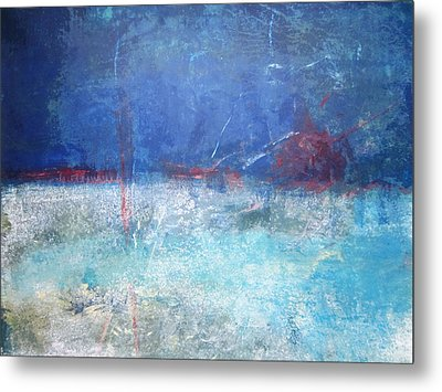 Metal Print featuring the painting Abstract Blue Horizon by John Fish