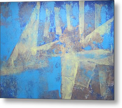 Metal Print featuring the painting Abstract Blue Landscape by John Fish