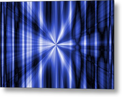 Abstract Blue Rays Background Metal Print by Somkiet Chanumporn