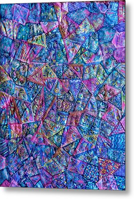 Metal Print featuring the digital art Abstract Blue Rose Quilt by Jean Fitzgerald
