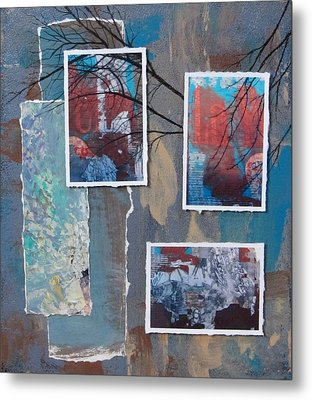 Abstract Branch Collage Trio Metal Print by Anita Burgermeister