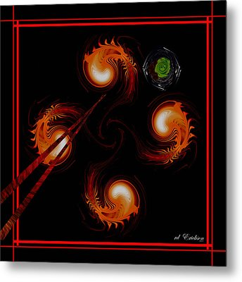 abstract - Chopsticks and Shrimp Metal Print