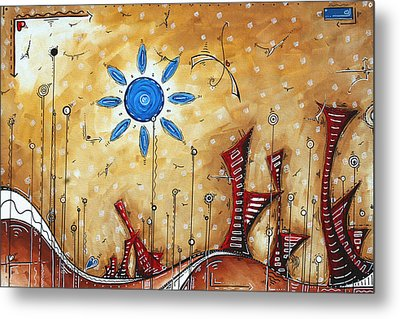 Abstract City Cityscape Contemporary Art Original Painting The Lost City By Madart Metal Print