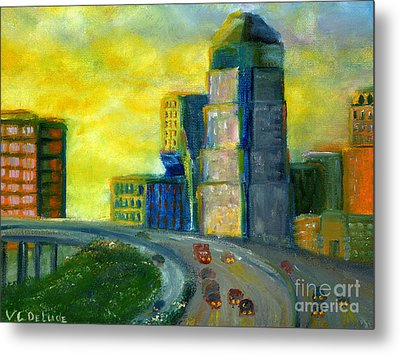 Abstract City Downtown Shreveport Louisiana Metal Print